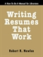 Picture of WRITING RESUMES THAT WORK